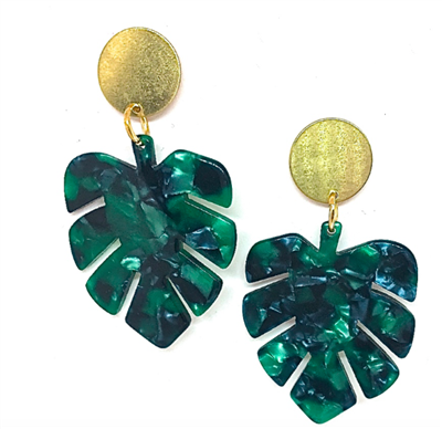 women's acrylic earrings shaped like a palm leaf in green with brass stud