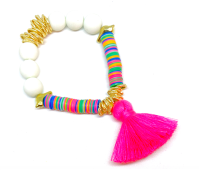 women's stretch bracelet with matte beads, glass beads and a pink cotton tassel