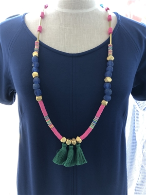 women's 36 inch long necklaces with matte beads, glass beads and a 3 green cotton tassels