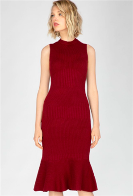 ladies cabernet colored sleeveless midi length sweater dress