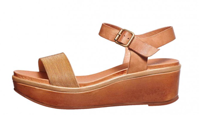 ladies taupe leather platform wedges with buckle that are 2 inches high