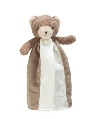 brown baby velour split blanket with a teddy bear stuffed animal