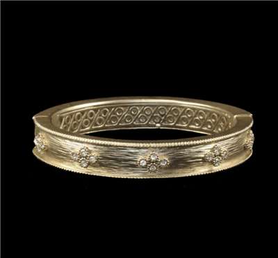 Women's Gold Hinged Oval Bangle