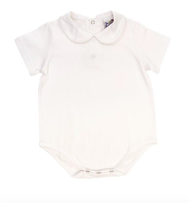 white knit baby onesie with white peter pan collar