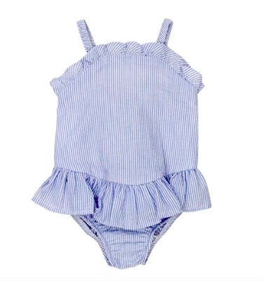 light blue and white seersucker one piece baby swimsuit