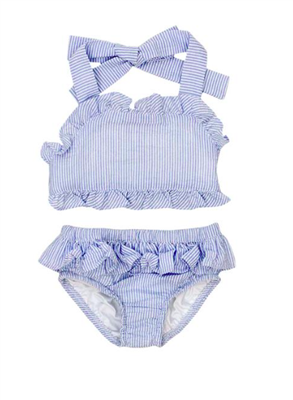 toddler girls two piece blue and white seersucker swim suit