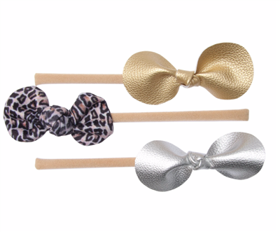 Leopard & Metallic Baby Headband Set