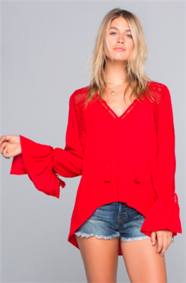 Red long sleeve rayon top with cut out sleeves and crochet inserts