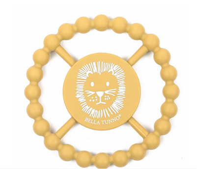 Yellow teething ring with a lion on the front.