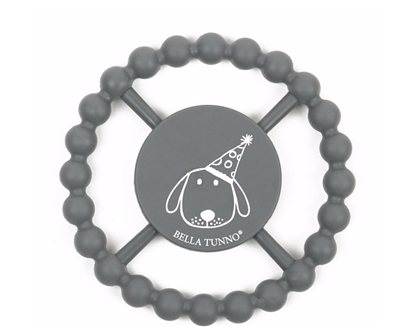 Gray teething ring with a dog on the front.