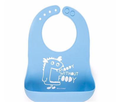 "Blue Baby Silicone Bib That says ""Moody Without Foody"""