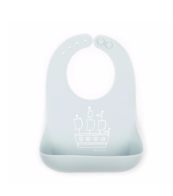 Silicone Baby Bib with a boat on the front.