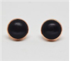 Black Cabochon Stud Earrings