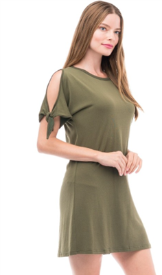 women's cold shoulder with tie sleeve army green sweatshirt dress