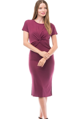 women's burgundy twisted front dress