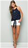 women's navy spaghetti strap tie front top with white bird