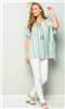 women's mint and white stripe tunic with tie front