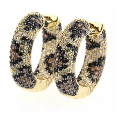 women's gold and leopard crystal hoop earrings