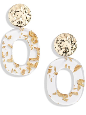 women's gold and clear acrylic earrings