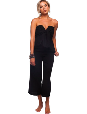 ladies black jumpsuit with cropped pants