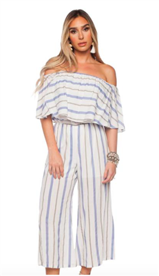 women's strapless jumpsuit with stripes