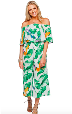 women's strapless jumpsuit with palm leaves