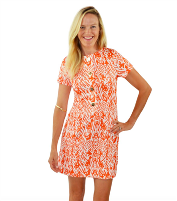ladies orange and off white print short sleeve dress