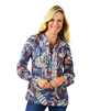 ladies long sleeve multi colored blouse with white trim details
