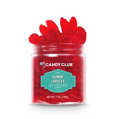 4 oz container of cherry lobster shaped gummy candy