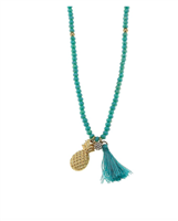 "aqua beads 24"" necklace with a gold pineapple charm and aqua tassel"