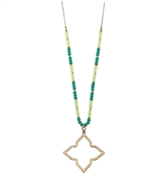"gold 30"" necklace with a 2 inch open quatrefoil pendant with aqua beads"