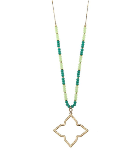 Canvas beaded glass open quatrefoil necklace summer jewelry our price 3800 aloadofball Choice Image
