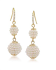 Double Pearl Ball Drop Earrings on a wire