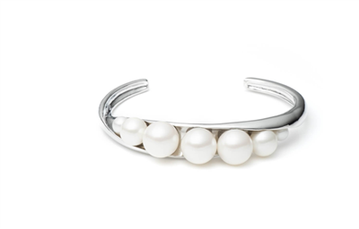 women's this silver open cuff bracelet with six pearls across the top