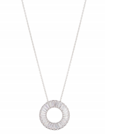 16 inch silver tone chain with a circle pendant of crystal baguettes
