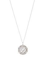 16 inch silver tone chain with openwork ball pendant.