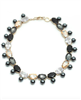 "glass and crystal 18"" collar necklace with grey pearls"