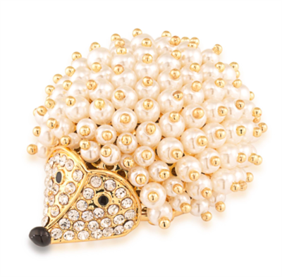 Hedgehog brooch with miniature pearls and crystals set in goldtone.