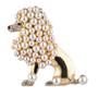 Gold tone poodle pin with different size pearls throughout.