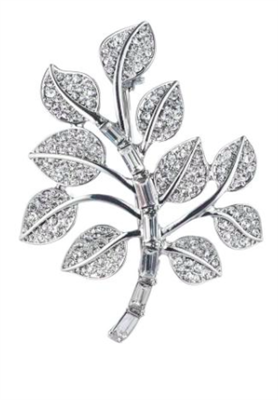 Silver tone Sprayed Leaf Pin with crystals throughout