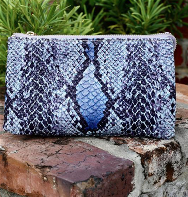 Women's Crossbody Bag in Blue Snake Print