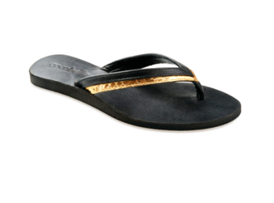 ladies black and gold thong sandal