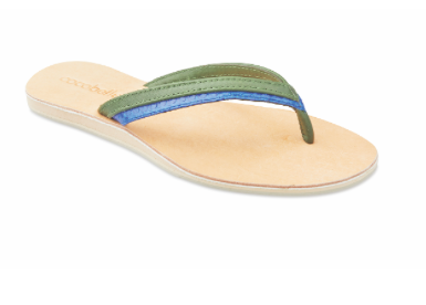 ladies Olive and blue thong sandal