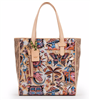 Ladies print oilcloth Tote bag with leather handles and leather trim.