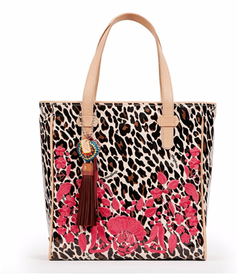 Ladies Tote bag in brown leopard print with floral embroidery with leather handles and leather trim.