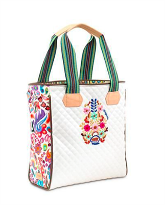 white quilted tote with striped web handles and leather trim