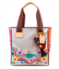 silver glitter with floral embroidery tote  with striped web handles and leather trim