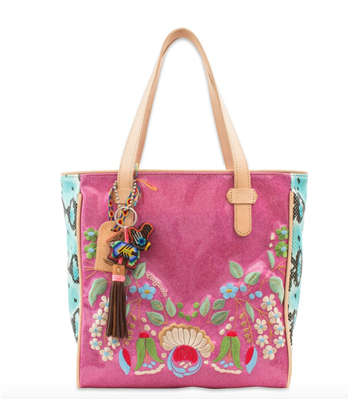 pink glitter tote bag with floral embroidery and snake print side panels