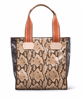 Faux snake print tote with striped web handles and leather trim