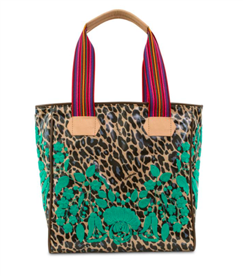 blue jag with floral embroidery tote  with striped web handles and leather trim